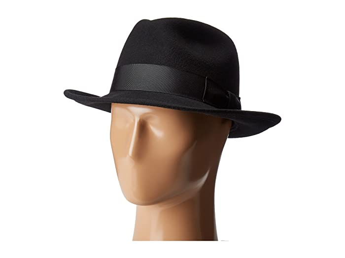 Country Gentleman Frederick Wide Brim Fedora Hat (Black) Caps