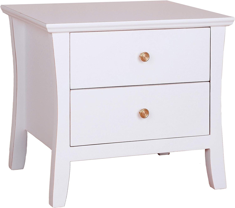 Porthos Home CB191A WHT Stephanie 2 Drawer Side Table White