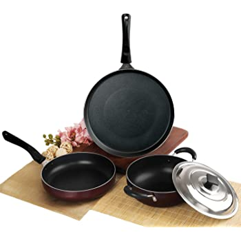Cello Prima Solitaire Series Non Stick 3Pc Cookware Set, Gas Stove Compatible only
