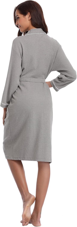 Aibrou Femme Homme Kimono Tissage Gaufr/é Peignoir de Bain Unisexe Coton Waffle Robe de Chambre col V Pyjama pour lh/ôtel Spa Sauna V/êtements de Nuit