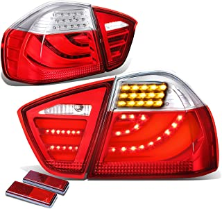 For BMW E90/E91 3-Series 4-Door Pair of Clear & Red Lens LED Bar Brake+Signal Tail Light