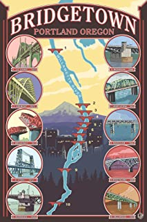 Portland, Oregon - Bridges of Portland (9x12 Art Print, Wall Decor Travel Poster)
