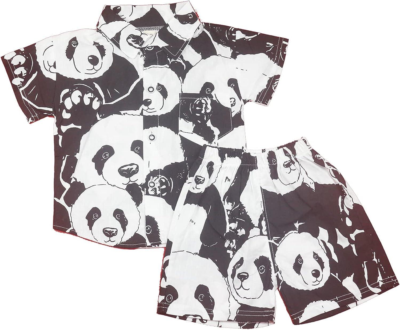 OHIXILOR Boys Casual Hawaiian Panda Print Summer Baby Short-Sleeved Shirt Set