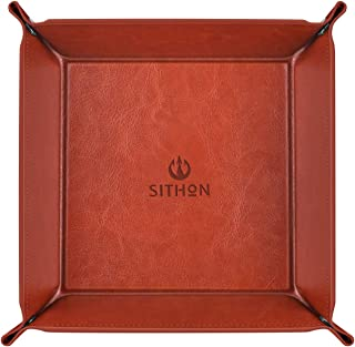 SITHON Valet Tray Desktop Storage Organizer - Multi-Use PU Leather Catchall Tray Bedside Nightstand Caddy Dice Holder for Keys, Phone, Wallet, Coin, Jewelry, Traveling and More, Brown