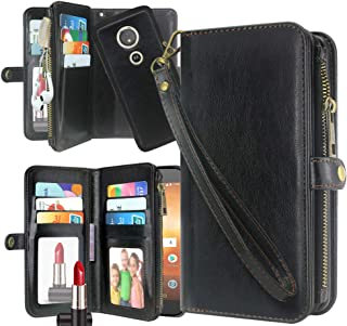 Moto E5 Play Case, E5 Cruise Case, Harryshell Detachable PU Leather 11 Card Slots Mirror Zipper Wallet Flip Protective Case Cover Wrist Strap for Motorola E5 Play 2018 (Black)