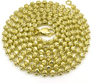 925 Italian Sterling Silver 2mm - 6mm Ball Bead Moon Cut Chain, FREE Microfiber Cloth, Yellow Gold Dog Tag Solid Necklace 16