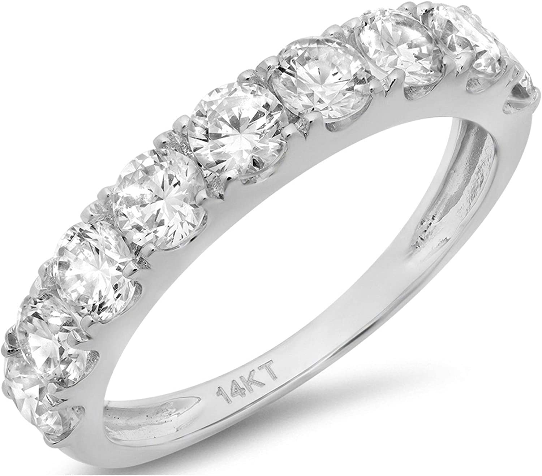 Clara Pucci 0.9 CT Round Cut Pave Set Anniversary Bridal Wedding Engagement Band Ring 14kt White Gold