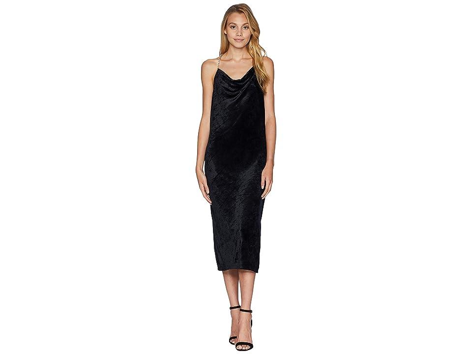 a880bd9a6dee Juicy Couture Crystal Straps Drapey Velour Dress (Pitch Black) Women