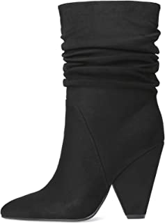 Stupmary Women Ankle Boots Chunky Heels Mid-Calf Bootie Winter Boots