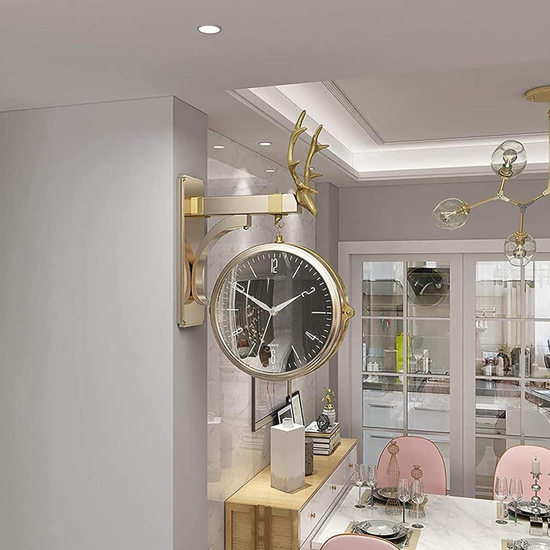Reloj de pared de doble cara con cubierta impermeable Vintage Mirada de antigüedades antigua montada en pared para interior y jardín Décor de colgante Materiales de metal Premium relojes de pared