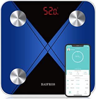 Bathroom Scales for Body Weight, BAIFROS Bluetooth Body Fat Scale Auto Monitor Body Weight,Fat,BMI,Water, BMR, Muscle Mass...