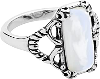 Carolyn Pollack Sterling Silver White or Gold Mother of Pearl or Green Varacite Size 5 to 10 Scroll and Rope Ring