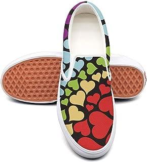 RegiDreae Canvas Slip on Sneakers for Women Rainbow Heart Background Fashion Sneaker