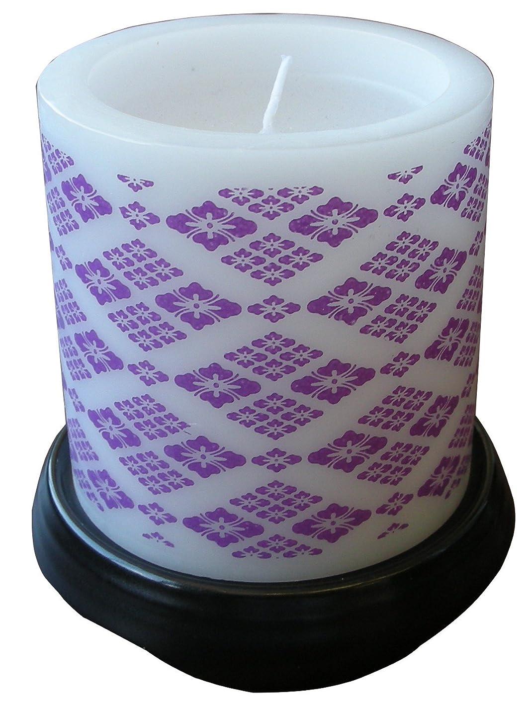 著作権モニター変動するマルエス 和みローソク 菱模様 紫 燭台付き