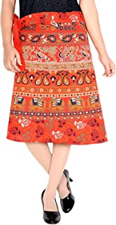 Jaipuri Print Women's Cotton Printed Knee Length Regular Wrap Around Skirt (W24NT-0002)
