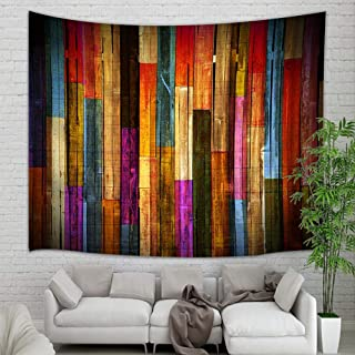 Colorful Wooden Wallpaper Tapestry Wall Hanging, Grunge Rustic Planks Barn House Wood Art Print Wall Tapestry Art for Home Decorations College Dorm Decor Living Room Bedroom Bedspread (60'' X 40'')