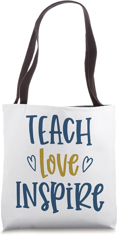 TEACH LOVE INSPIRE Dedicated Teacher Overseas parallel New Free Shipping import regular item Tote Motivational Ba Slogan