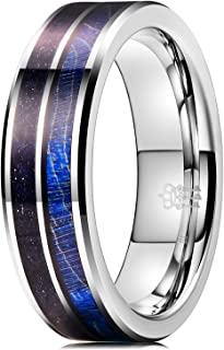 THREE KEYS JEWELRY 8mm Tungsten Ring with Colorful Dyed Box Elder Wood Inlay Domed Wedding Band