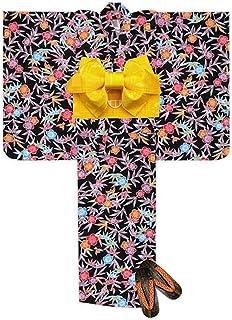 浴衣 こども 女の子 浴衣 セット 110 紅型風 子供浴衣 作り帯 下駄 3点セット「黒 笹と梅」BIN-11-CK-setC