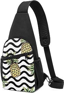 Abstract Wave Patrón sin costuras con diseño de piña tropical, mochila ligera para el hombro, bolsa cruzada, bolsas de via...