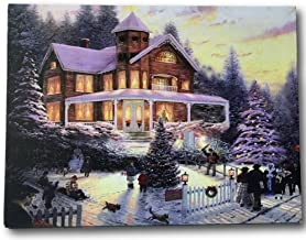 BANBERRY DESIGNS Christmas LED Canvas Print - Winter Scene Wall Art with a Victorian House in a Snowy Setting - Christmas Lights in The Trees Light Up - 16 X 12 Inches