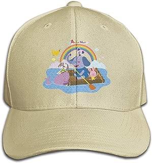Unisex Classic Baby Elephant Spraying Rainbow Lover Baseball Cap Cotton Skull Cap Black