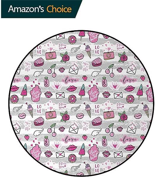 Emoji Modern Washable Round Bath Mat Memphis Style Doodle Lip Star Strawberry Speech Bubble On Stripe Pattern Non Slip Bathroom Soft Floor Mat Home Decor Diameter 59 Inch Pale Grey White Magenta