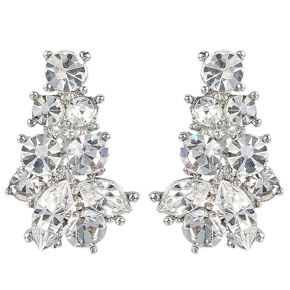 EVER FAITH Silver-Tone Austrian Crystal Wedding Art Deco Cluster Pierced Stud Earrings Clear