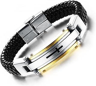 BABYEN Man's Leather Wrap Bracelets Casual Stainless Steel Cross Design Men's Sproty Jewelry