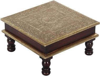 Petite Table Aroon L en Bois avec incrustations en Laiton, de l´Inde, 30 x 30 x 15 cm CASA Moro MA25-70