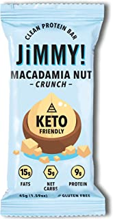 JiMMYBAR KETO Bar, Delicious Protein Snack for Keto Diet, High Fats - 15g Fat, Low Carb - 5g Net Carbs, 9g Protein, Gluten Free, Macadamia Nut Crunch - with Coconut Oil and Sea Salt, 12 Count, 45g/Bar