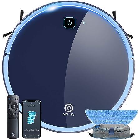【掃除・水拭き両用】ロボット掃除機 静音設計 お掃除ロボット 水拭き 床拭き 拭き掃除 床掃除 全自動 ロボットクリーナー Wi-fi接続 アプリ対応 自動充電 知能自動掃除機 予約清掃 薄型 一人暮らし 引っ越し 新生活応援 OKP K7 拭き掃除機