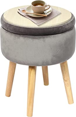 "B FSOBEIIALEO Round Storage Ottoman, Soft Padded Velvet Footrest Stool, With Wooden Legs & Tray Top 14.17"" (Grey)"