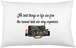 Designer inspired Pillow Case, The best things in life are free the second are very expensive pillowcase, designer inspired pillowcase, Custom Printed, Unisex Pillowcase, Adult Bedroom, Teen Room