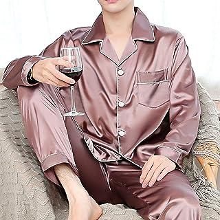 YaGFeng Pijamas De Hombre Hombre de Manga Larga Pijamas de Seda Pijamas de Dos Piezas de los Hombres Regalo De Esposo Y Amigo (Color : Pink, Size : Large)
