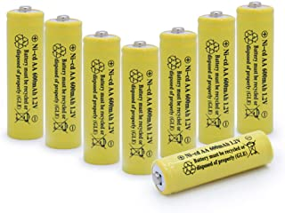 QBLPOWER Solar Light 1.2V AA Ni-CD 600mAh 2A Rechargable Batteries Cell for Garden/Lawn/Sidewalk Lamp (8 Pack AA Yellow)