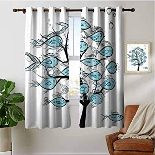 PRUNUSHOME Sea Animals on Tree Theme Bedroom Blackout Curtains, Kitchen Cafe Curtains Half Window Treatments Home Fashion Drapes for Small Windows(Set of 2 Panels,42 by 36 Inch)