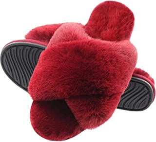 Slippers for Women, Cross Band Plush Fleece Anti-Skid Memory Foam Slip On Fuzzy Slides for Indoor Outdoor