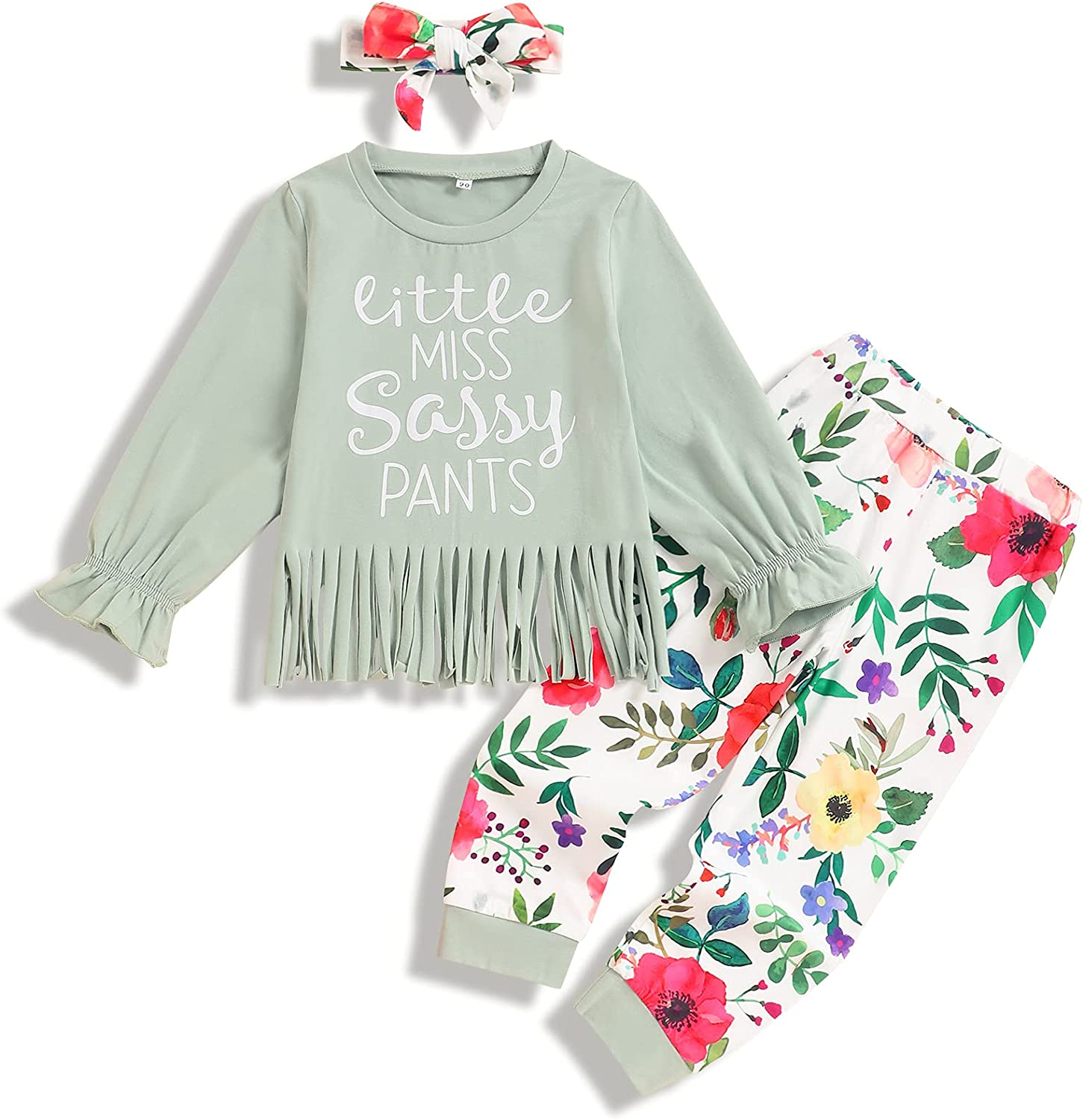 Girls Fall Clothes Outfits Toddler Baby Girl Long Sleeve Tassel Print Tops Floral Pants Headband Hat 3PC Set