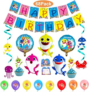 68Pcs Shark Party Supplies Set Shark baby birthday decorations Shark Birthday Party Decorations Hanging Swirl include Shark Party Swirl Decorations Balloons Banner Invitation Small Cake Toppers