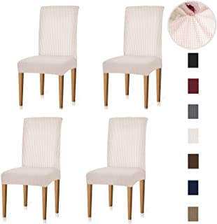 Xflyee Stretch Dining Room Chair Covers Jacquard Removable Washable Kitchen Parson Chair Slipcovers Set of 4 (Cremek, 4 Pack)