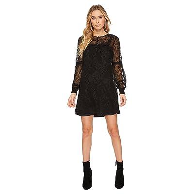 Jack by BB Dakota Andres Flocked Chiffon Dress (Black) Women