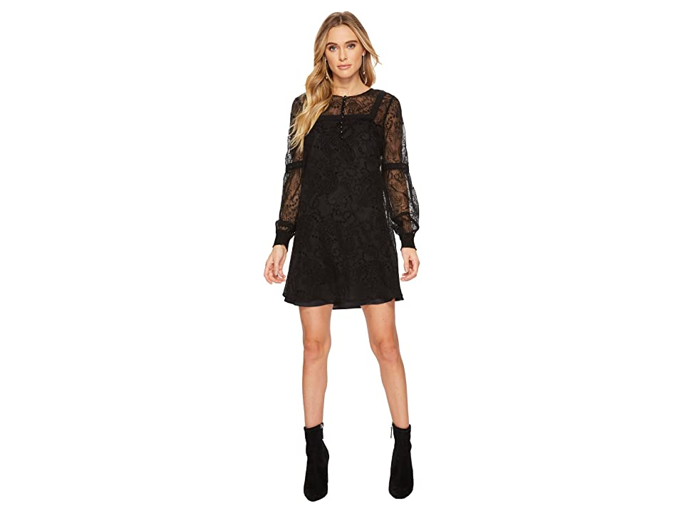 Jack by BB Dakota Andres Flocked Chiffon Dress (Black) Women