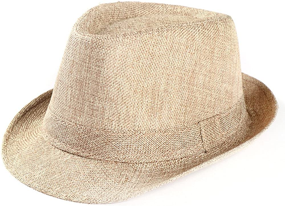 TOTOD Visor Small Top Hat Outdoor Cap Unisex Trilby Gangster Cap Beach Sun Straw Hat Band Sunhat Beige : Clothing, Shoes & Jewelry