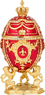 QIFU Vintaga Faberge Egg Replica Hinged Jewelry Trinket Box Hand Painted Collectible Figurine Unique Gift Home Decor