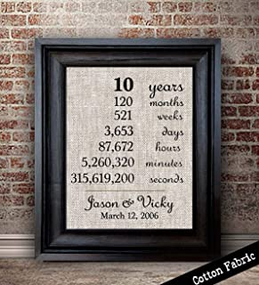 10 Year Anniversary Gift for Husband | 10th Anniversary Gift for Couple | 10 Year Anniversary Gift for Wife | Months, Days, Years, Seconds | Cotton Fabric Print