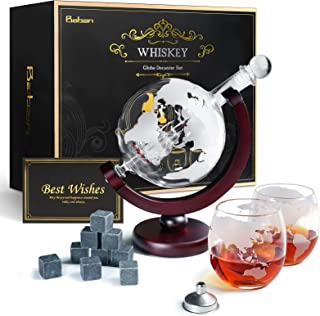 Baban Whisky Decanter Set, Decanter per Vino, Design del Globo, con 2 Vino Tazze, 9 Pietra di Vino Ghiaccio, Filtro, Carta...