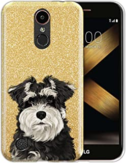 FINCIBO Case Compatible with LG K20 Plus/Harmony VS501/ LV5 K10 2017 M250 M257, Shiny Sparkling Gold Bling Glitter TPU Protector Cover Case for LG K20 Plus - Cute Schnauzer Puppy Dog