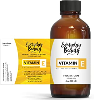 Vitamin E Oil - 100% Pure and Natural D-Alpha Tocopherol 4oz 95,000 IU - Unscented Not a Blend - For Scars After Surgery, ...