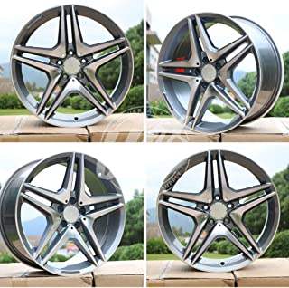 20 inch x 8.5 Wheels Rims AMG Double Spokes Style Gunmetal Machined Face Compatible with MERCEDES BENZ Bolt Pattern 5x112 Set of 4